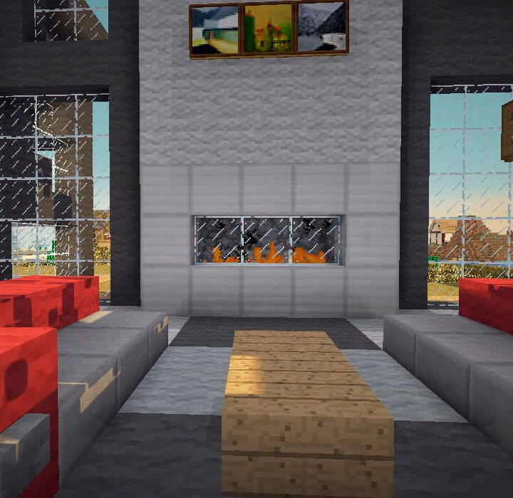A Modern Minecraft Fireplace Minecraft Furniture Minecraft light designs, lamps, planters, and other minecraft decoration ideas to help improve the style of your minecraft abodes. a modern minecraft fireplace