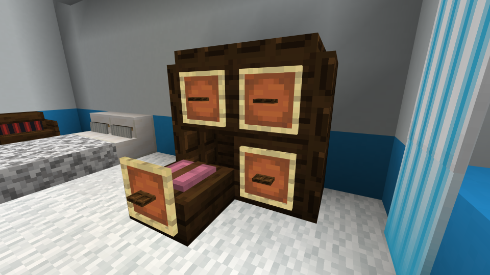 Minecraft Dresser with Open Drawer